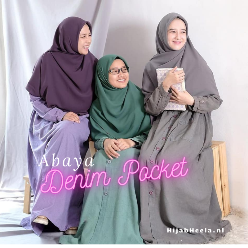 Abaya Dames | Denim Pocket