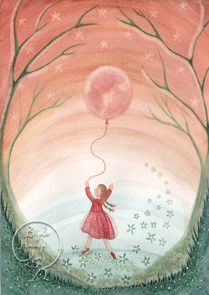 Girl with moon balloon