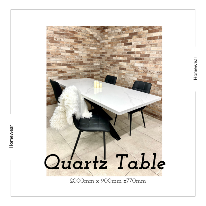 Marble Effect Calacatta Quartz Dining table / Kitchen table