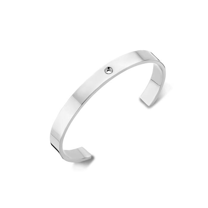 Melano twisted armband wide zilver