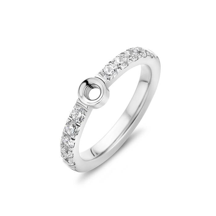 Melano twisted ring Crystal zilver