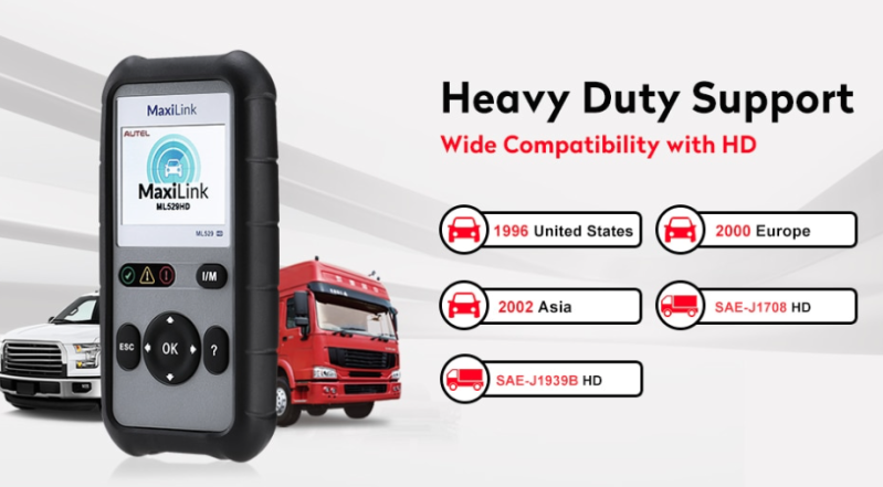 AUTEL ML529 HD Heavy Duty + personenauto's