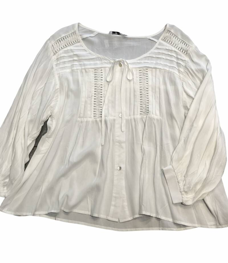 Blouse roomwit met stiksels