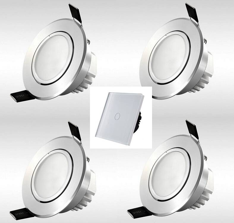 Complete LED set: 4x LED inbouwspot + LED dimmer