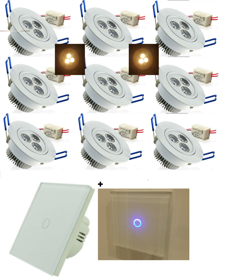 LED SET COMPLEET: 9 x 3 watt - Dimbaar - wit armatuur + LED dimmer