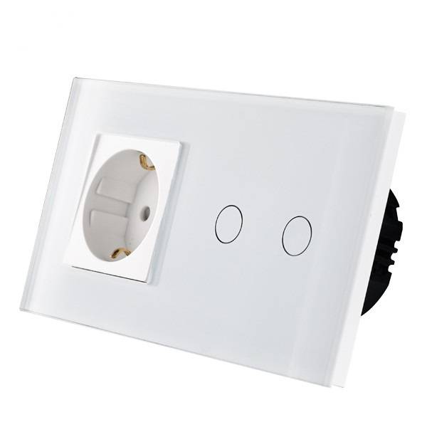 Dubbele dimmer met remote functie + stopcontact wit + remote