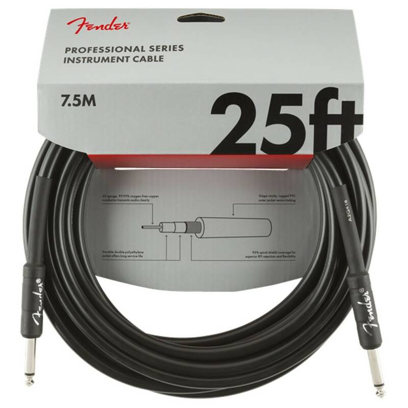 Fender Professional 7.5M/25ft Straight Instrument Cable, Black