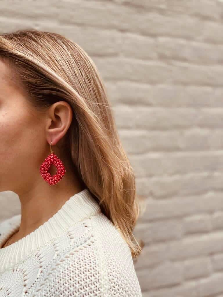 Holly Shiny Red Double Stones Glassberry Ace L   LOTT.Gioielli Earring