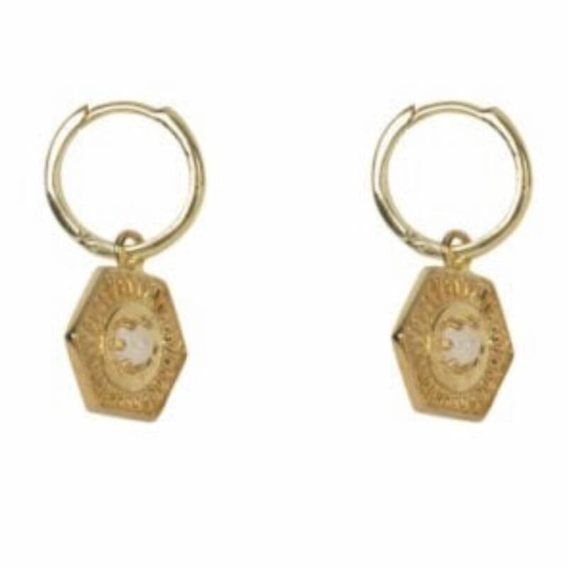 Small Earring Vintage Coin Moonstone | Betty Bogaers
