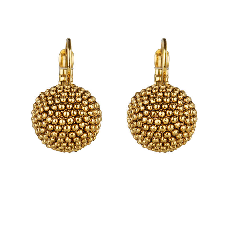 Gold plated globe dormeuses   Camps & Camps earring