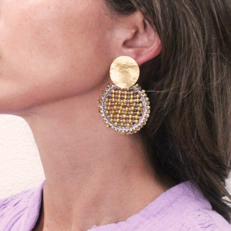 Champagne Oorbellen Isabella Circle Abacus Double Stones M | LOTT. gioielli earring