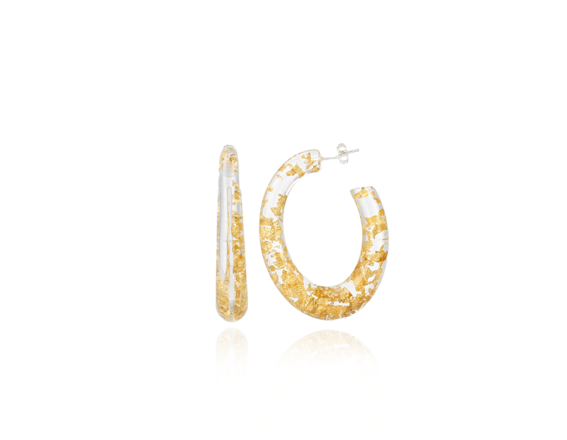 Resin Creole Deluxe M Gold Flakes   LOTT.Gioielli Earring