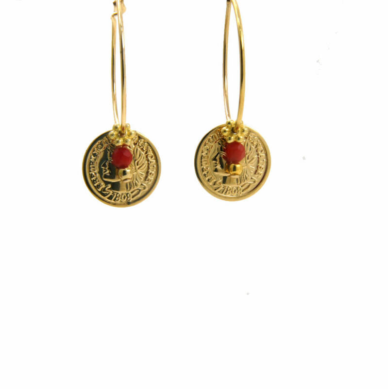 Coin Rood | Lilly Oorbellen
