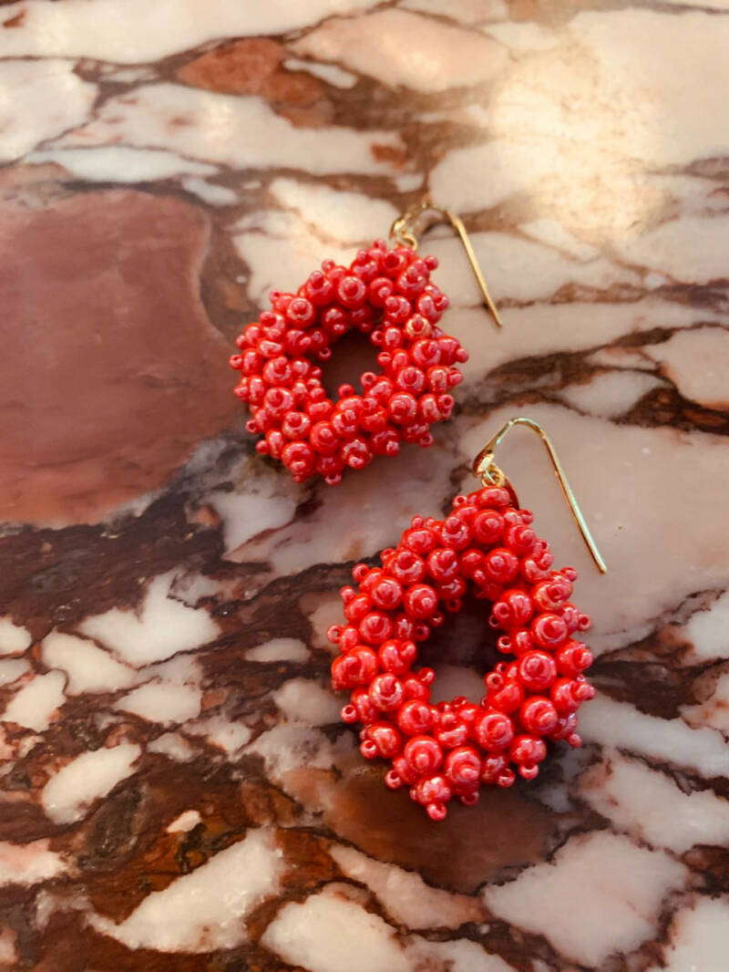 Holly Shiny Red Double Stones Glassberry Ace M   LOTT.Gioielli Earring