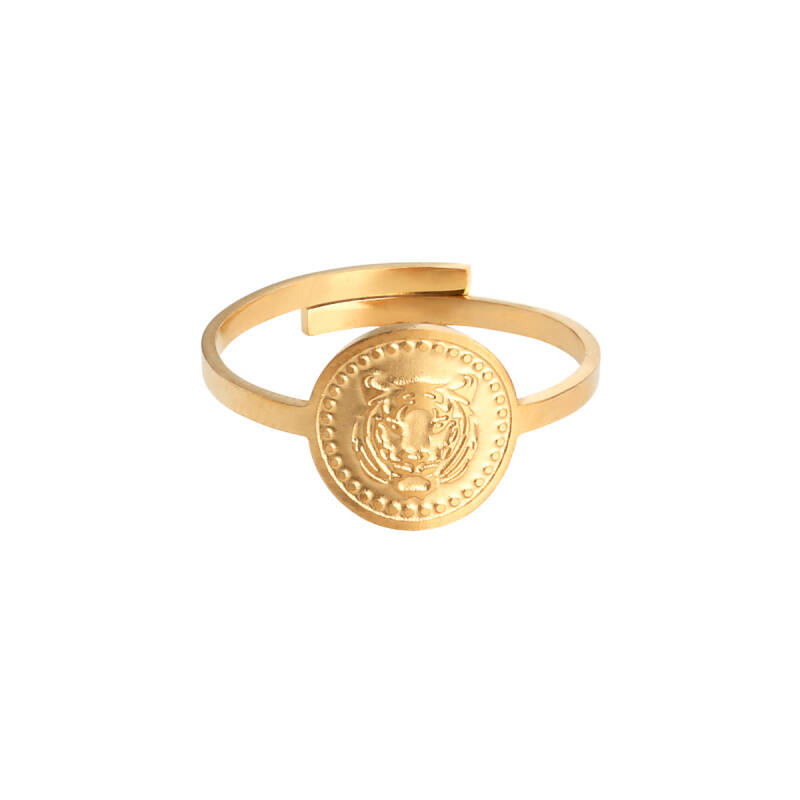 Ringen - Fierce Tiger Round Goud