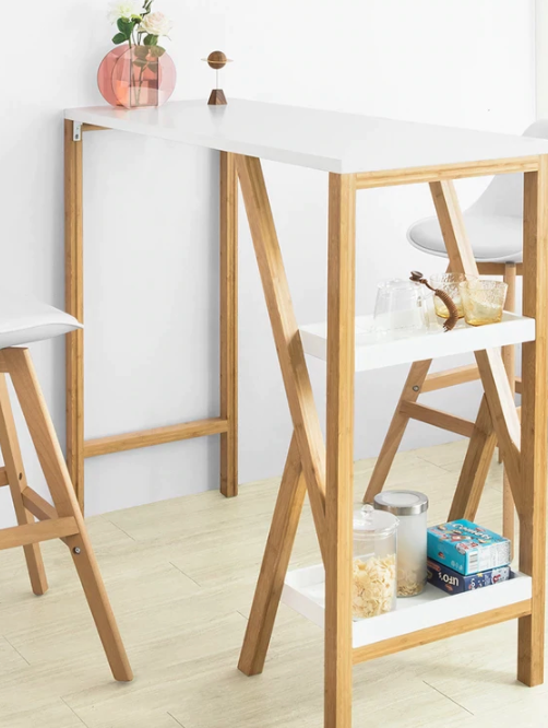 Bartafel Bamboo Hout -wit