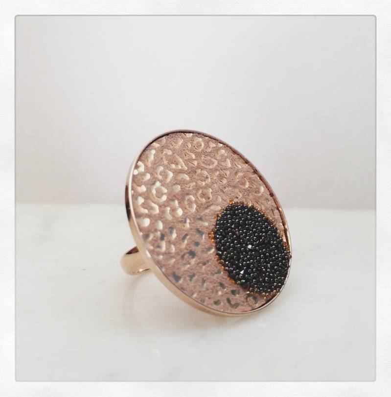 Ring rose gold met schijfjes 30 mm / Bague rose gold avec disques 30 mm