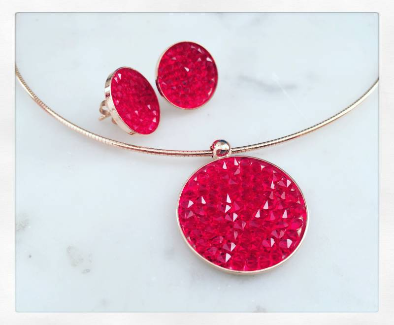Set / Ensemble rose gold + Swarovski rood / rouge