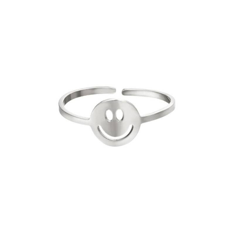 Smiley ring zilver