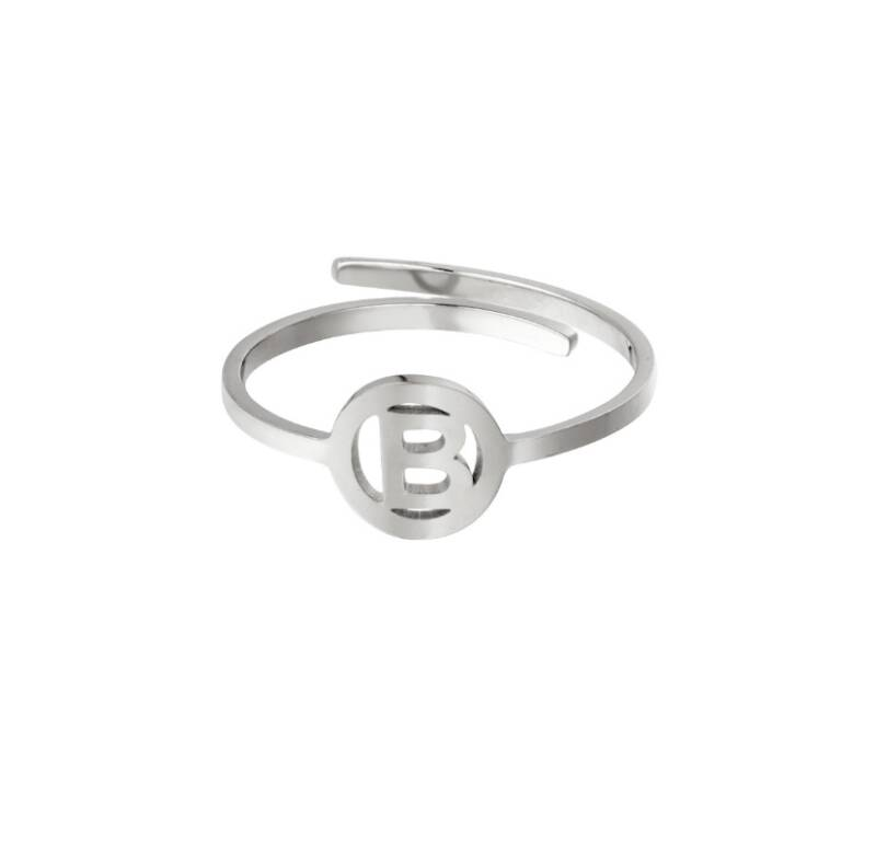 Initial ring silver