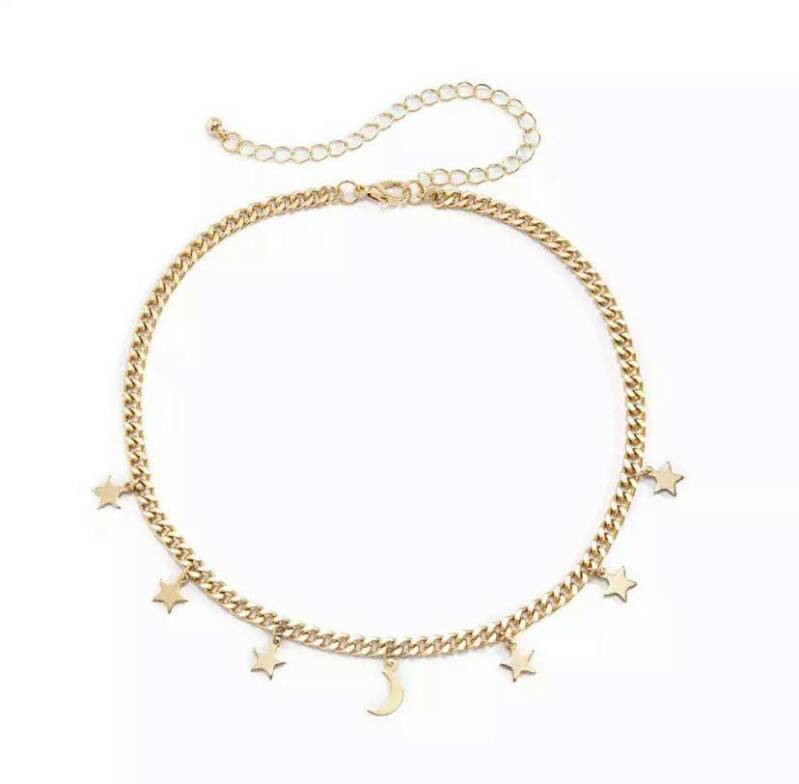 Chunky necklace stars gold