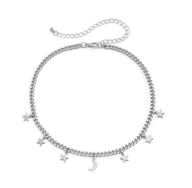 Chunky necklace stars silver