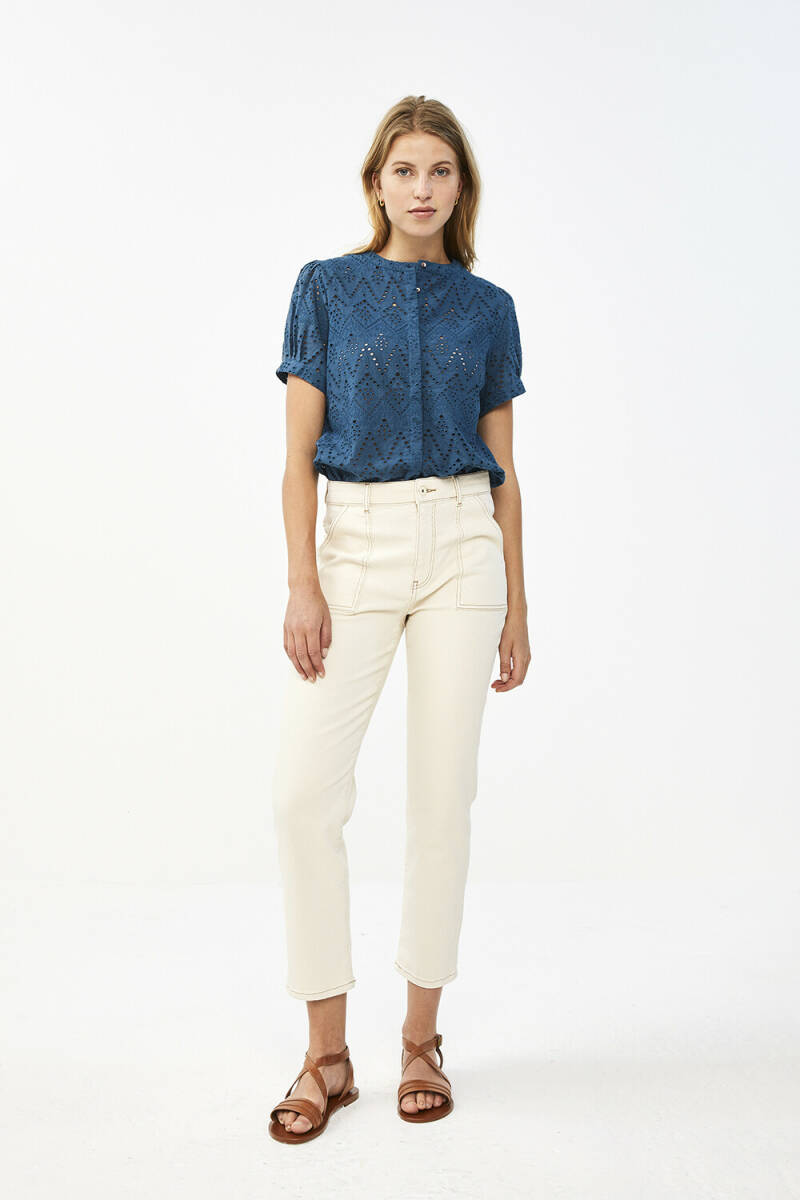 By Bar Blouse Bloom Embroidery Oil Blue