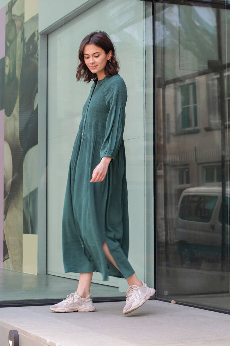 By Bar Loulou Smocked Dress (Bottle Green)