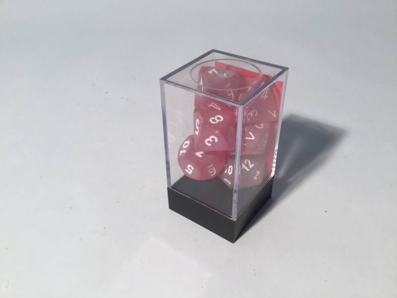 Gaming Dice • Dobbelsteentjes • Polyhedral 7 st • frosted red
