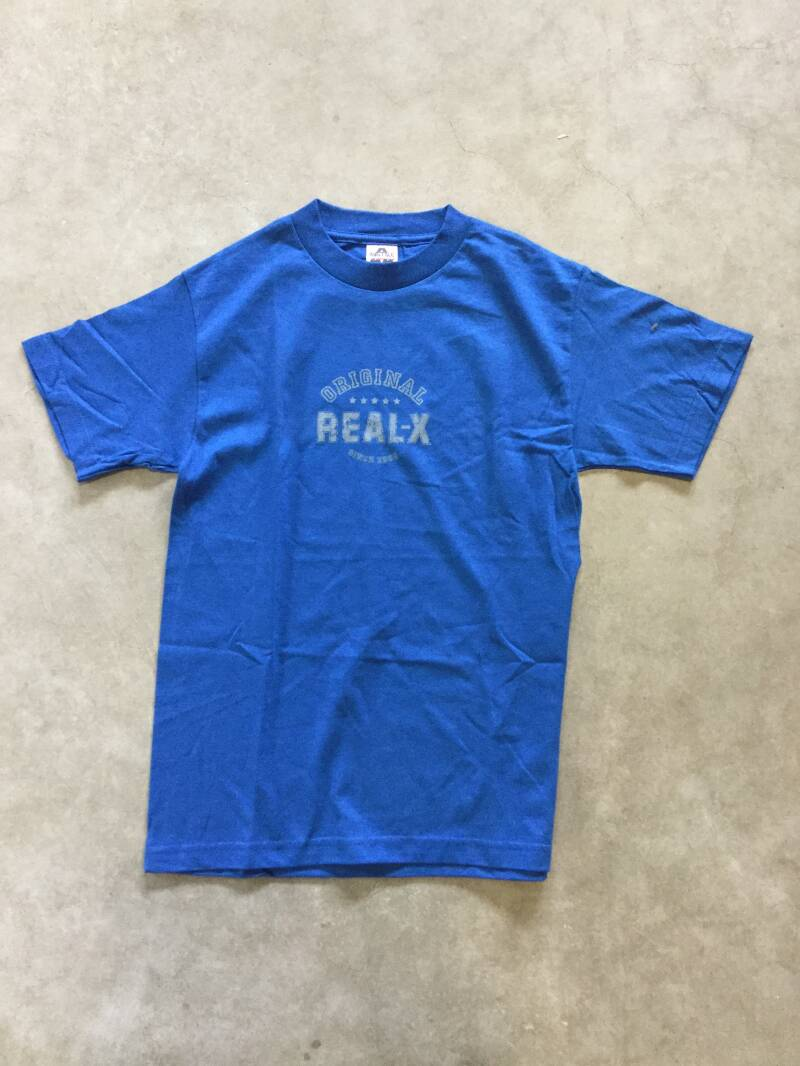 Shirt • Real-X • Original since 2005 • white on royal blue • small