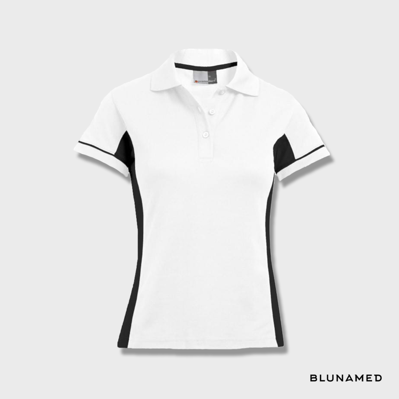 Sport polo dames (wit/zwart)