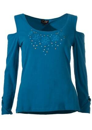 Off shoulder shirt blauw