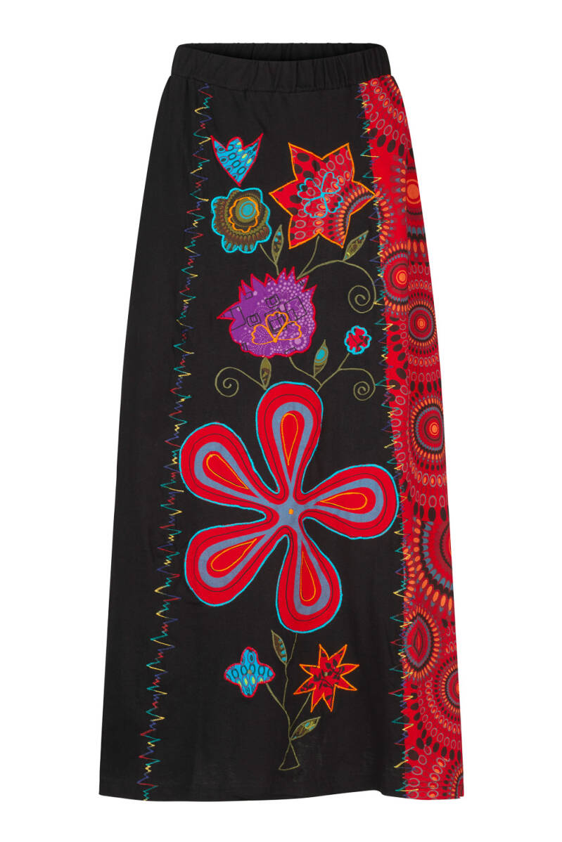 Hippie boho  patchwork maxi rok met applicatie 20% KORTING
