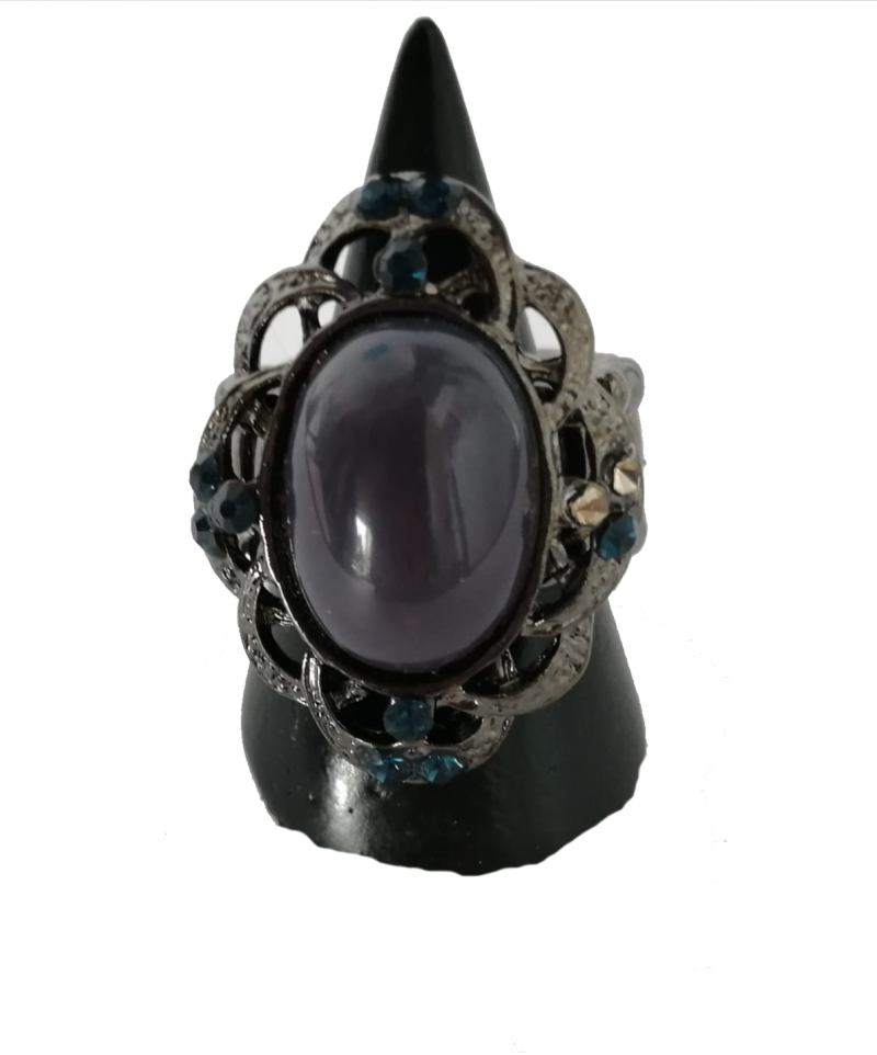Boho ring blauwe steen