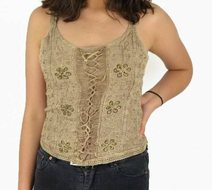 Boho geborduurde indian top beige