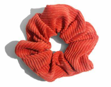 Corduroy Scrunchie Washed Red 12cm
