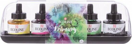 """Talens Ecoline 5 ronde flacons met pipet """"Primary"""""""