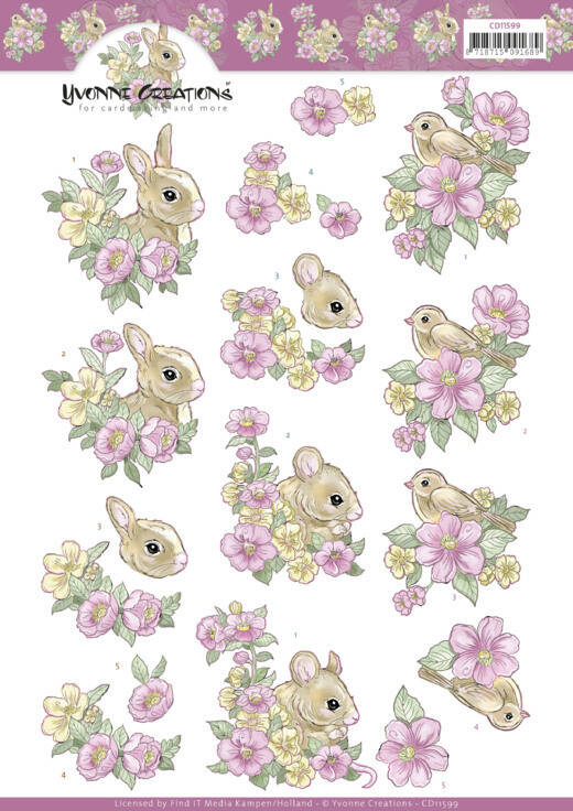 Pink flowers and Animals