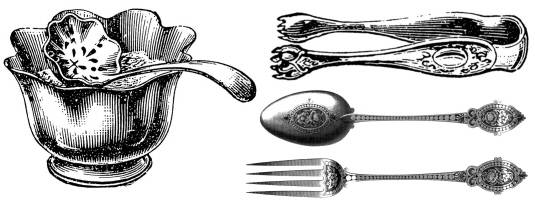 SW G07082/66  Sugar bowl, tongs, spoon, pastry fork