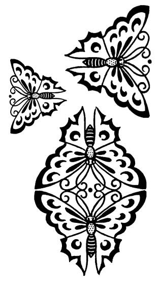 SW K07094/68 Japanese butterfly ornaments