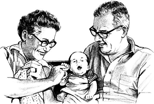 SW P17027/197 Grandparents with baby