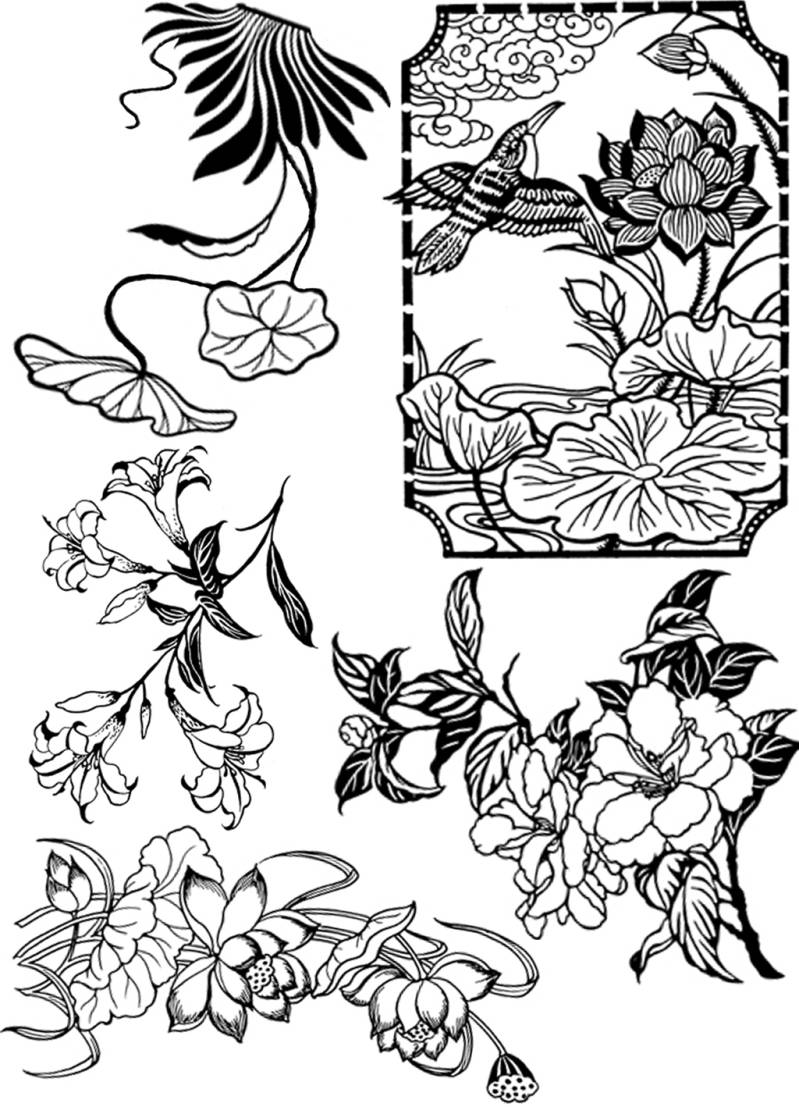 PLATESW011 Plate 011 Chinese flowers