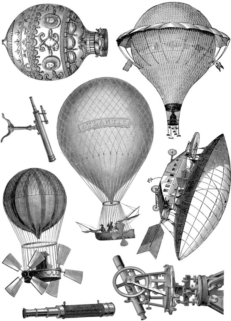 PLATESW129 Plate 129 Steampunk 2 Hot air balloons and binoculars