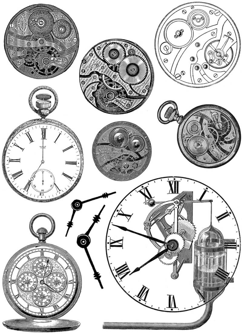 PLATESW132 Plate 132 Steampunk 5 Clocks