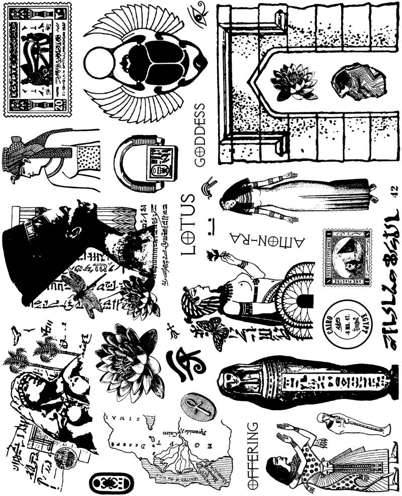 NSPL042 Plate 042 Egyptian collage elements