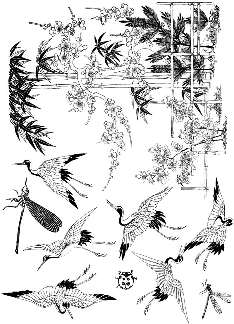 PLATESW048 Plate 048 Japanese flowers and animals 1