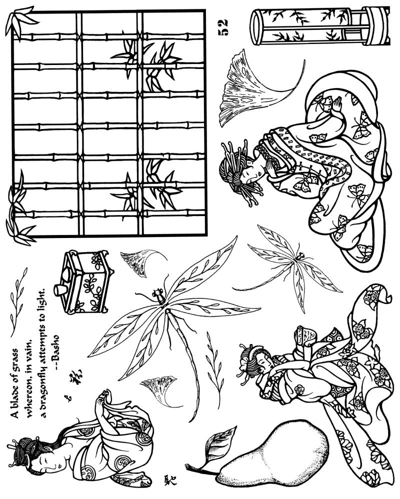 NSPL052 Plate 052 Oriental collage elements and dragonflies
