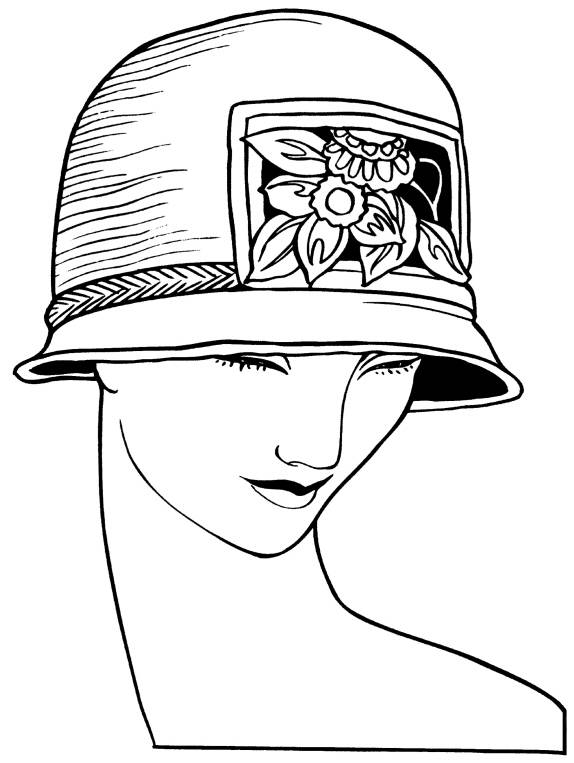 SW Q07003/53 Art Deco woman with strawhat lg.