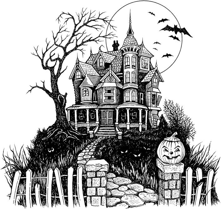 SW R20076/233 Haunted house and garden