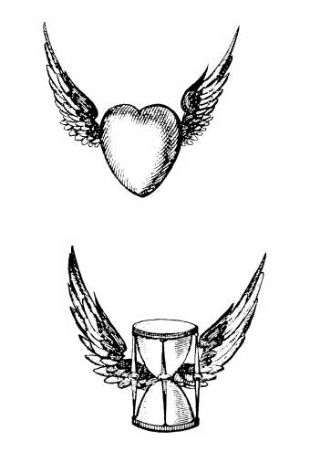 FAS M1009 Hourglass and heart with wings